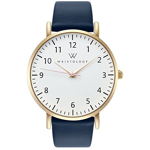WRISTOLOGY Olivia Womens Gold Numbers Wrist Watch Navy Blue Leather Band ()