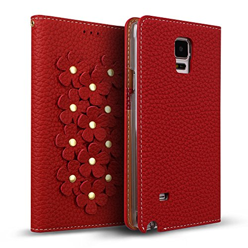Galaxy Note 4 Case, DesignSkin Wetherby [Flower Patch] - Genuine Cowhide Premium Leather Handcrafted Unique Luxurious Design ID Credit Card Storage Banknote Slot Wallet Case (Red) (Red Note 4 Case Bling)