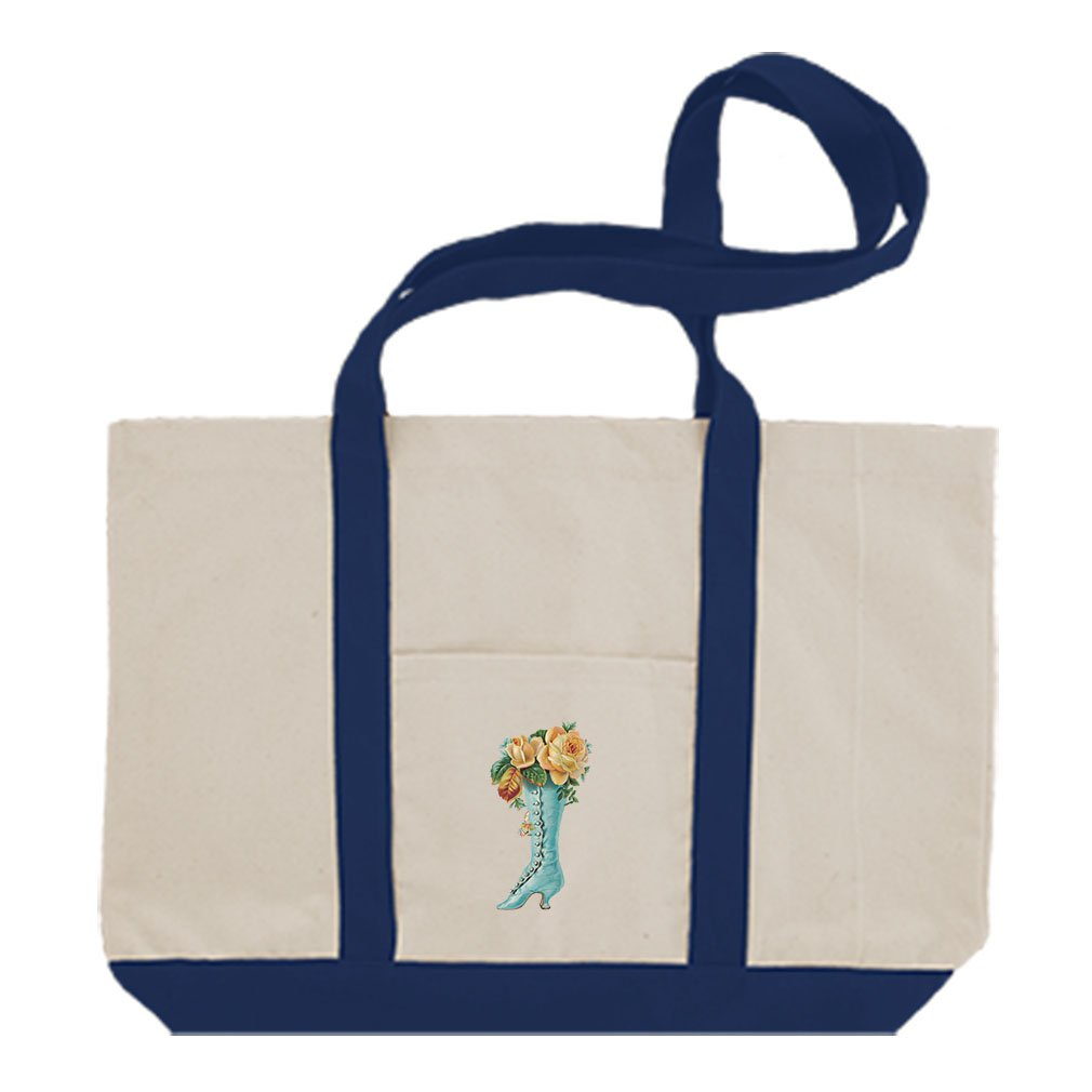 Cotton Canvas Boat Tote Bag Roses In Boot Vintage Look #2 By Style In Print   Royal Blue