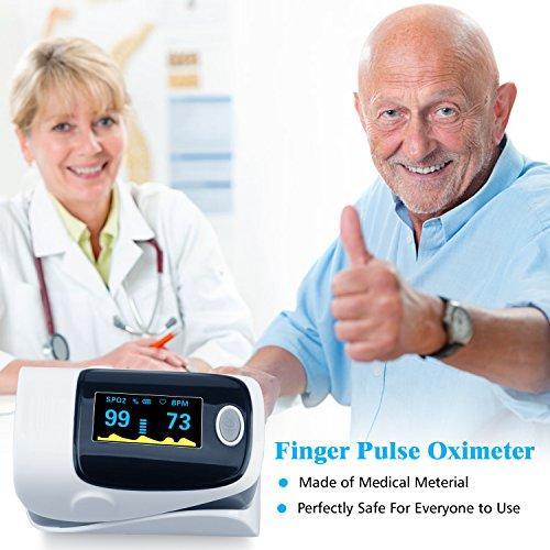 Finger Pulse Oximeter, URBEST Portable Pulse Oximeter Instant Read Digital Display Fingertip Oxygen and Pulse Sensor with Alarm SPO2 for Home, Hospital (Grey) by URBEST (Image #4)