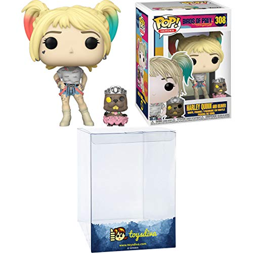 Harley Quinn and Beaver Funk o Pop! Heroes Vinyl Figure Bundle with 1 Compatible ToysDiva Graphic Protector (308 - 44378 - B)