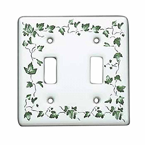 Vintage Switch Plate White Porcelain Ivy Double Toggle | Renovator's Supply