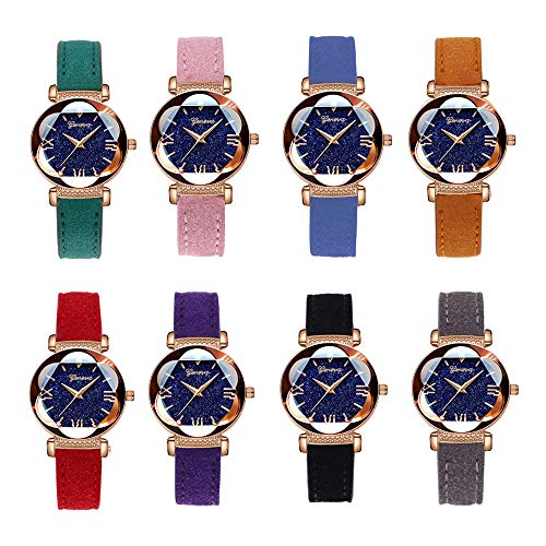 Weicam Diamond PU Leather Starry Sky Wrist Watch Wholesales for Women Girls 8 Pack Analog Quartz Frosted Table Drop Drill 8 pcs