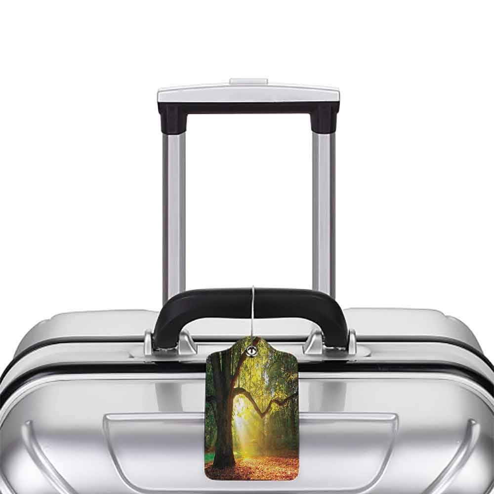 Multi-patterned luggage tag Leaves Decor Majestic Mighty Oak Tree with Largely Broader Leaves Forest Sun Beams Rays Nature Double-sided printing Green Light Yellow Orange W2.7 x L4.6