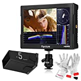 Aputure VS-5 7 Inch SDI HDMI Camera Field Monitor with RGB Waveform/Vectorscope/Histogram/Zebra/False Color to Better Monitor Your Production - With Fully-Enclosed 10'' Sun Hood and PERGEAR Clean Kit