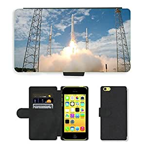 PU Cuir Flip Etui Portefeuille Coque Case Cover véritable Leather Housse Couvrir Couverture Fermeture Magnetique Silicone Support Carte Slots Protection Shell // M00295178 De lanzamiento de cohetes Spacex // Apple iPhone 5C