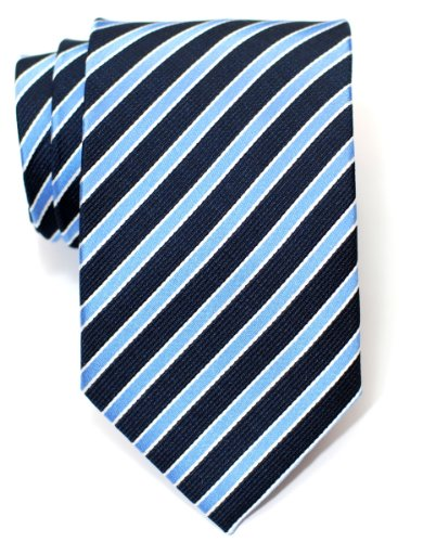 Blue Stripe Silk Tie (Retreez Two-Colour Stripe Woven Men's Tie - Navy Blue and Light Blue)