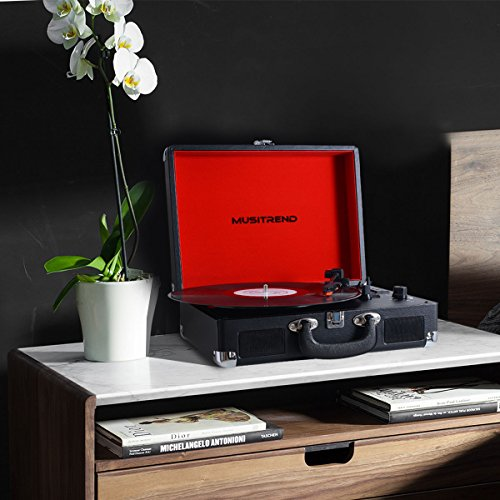 Musitrend Bluetooth Turntable Portable Suitcase Vinyl Records Player with Built-in Speakers, USB/SD Recorder, Rechargable Battery, Headphone Jack, RCA line Out, Black