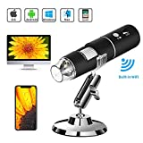 TSAAGAN WiFi USB Microscope, Built in WiFi Wireless Digital Microscope Camera with 1080P HD 2MP 50x to 1000x Magnification Endoscope for Android, iOS, Smartphone, Tablet, Widows, iPad, Mac PC