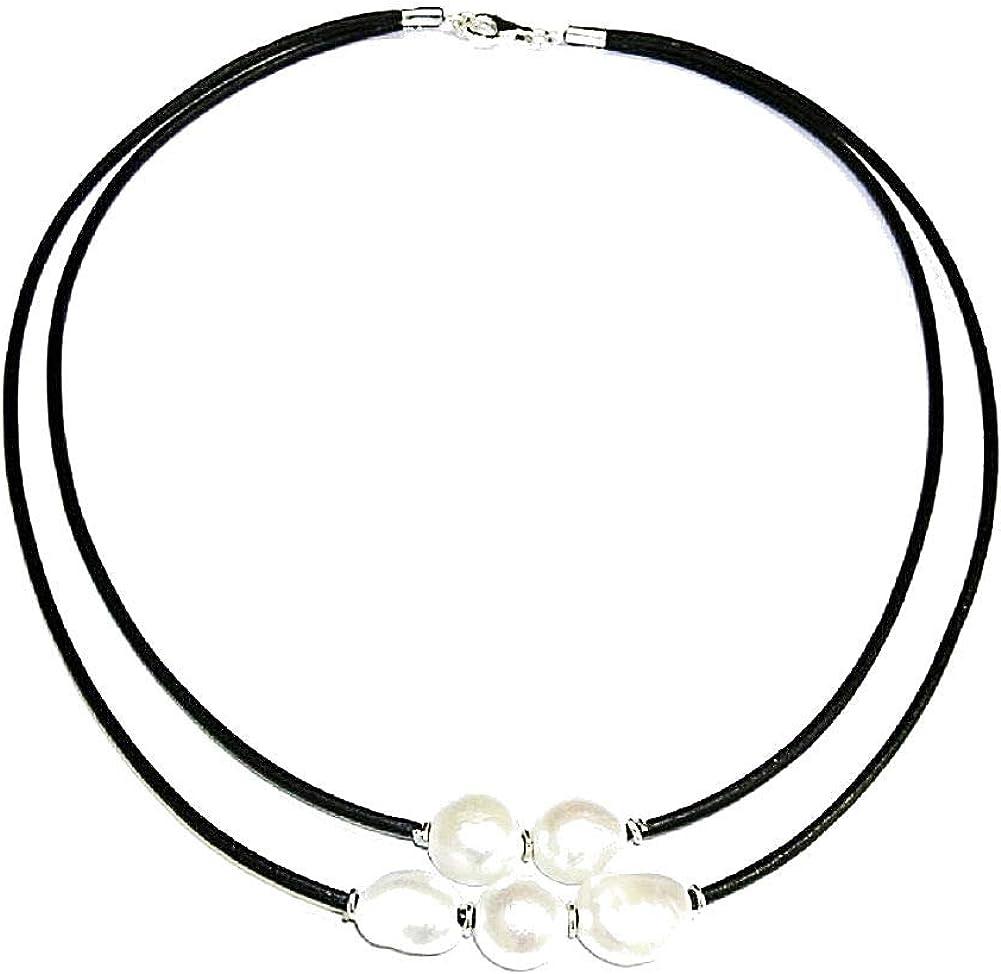 Collar de Perlas Cultivadas barrocas. Cuero Natural y Plata de Ley. Envoltorio de Regalo