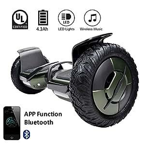 "EVERCROSS Hoverboard Phantom Self Balancing Scooter 2 Wheel Board – UL2272 Certified, All-Terrain Bluetooth&App Three Speed Mode 10"" Alloy Wheel, 300W Dual-Motor Samsung Battery Hoverboard(Green)"