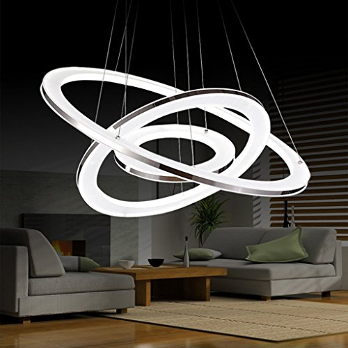 HOMEE Ceiling Chandelier-Illumination Modern Living Room Chandelier Restaurant Bedroom Study Led Acrylic Rounded Chandelier Indoor Light,60+40+20Cm by HOMEE