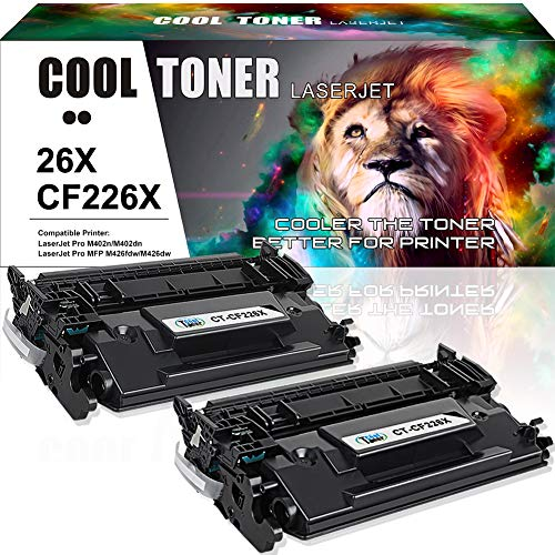 Cool Toner 2PK 9000 High Yield Compatible Toner Cartridge Replacement for HP 26X CF226X 26A CF226A for HP Laserjet Pro M402n m402dn M402dw M402dne, Laserjet Pro MFP M426fdw M426dw M426fdn Printer Ink