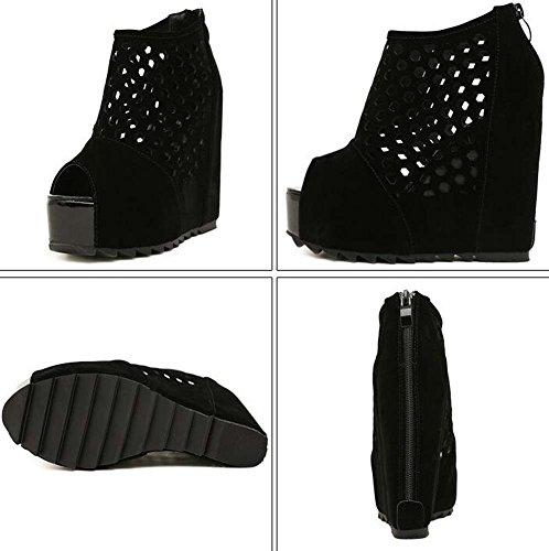 Toe Boots Peep Zipper Cool Black Color 5cm 4 Shoes Pure Fashion Roma Dress 34 Hollow Court Size Women 13cm Wedge Heel Eu 40 Pump Shoes Platform Shoes FPq08P