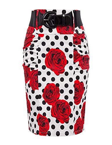 (Faldas De Mujer Elegantes Bright Pencil Skirt M, Floral-15)