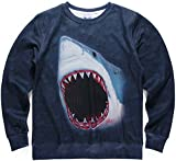 Pizoff Unisex Hip Hop 3D Digital Printing REALISTIC MUSCLE GREAT WHITE SHARK JAWS DEEP SEA JUMPING OUT OF THE WATER ATTACK MESH Pullover SweatShirts Y1628-22-L