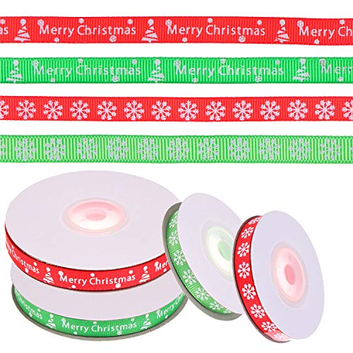Christmas Fabric Merry (LOCOLO 4 Rolls Merry Christmas Wrapping Ribbon Snowflake Fabric Ribbon for Gift Wrapping Christmas Party Decoration Wedding Decorations and Hair Bows Making (4Rolls(2×24yd; 2×9.8yd)))
