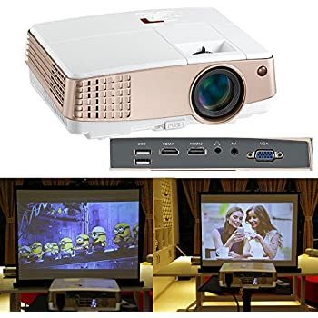 2600 Lumen LCD LED Portable Video Projector Support 720P 1080P Multimedia Home Theater Projector for Outdoor Movie TV Box DVD Player Games with Speaker & Keystone