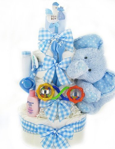 Gingham & Giggles Three Tier Diaper Cake - Boy by Cashmere Bunny