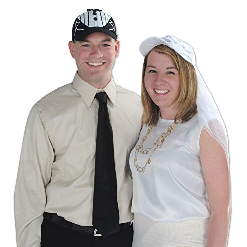Club Pack of 12 Wedding or Anniversary Themed Black Tux Cap Costume Accessories by Party Central
