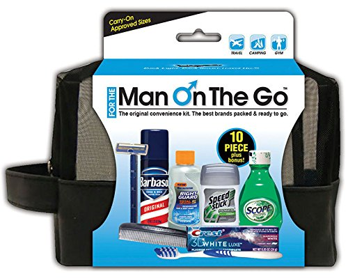 Convenience Kits 81 Men's 10 Piece Travel Kit with Quart Sized Zip Top Man on the Go Bag (Case of 6)