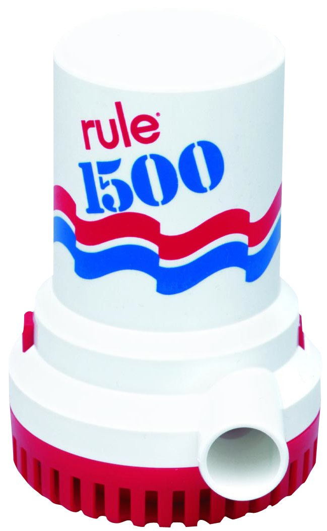 Rule 02-6 Marine Bilge Pump, 1500 GPH, Non-Automatic, 12 V with 6 Foot Wire Leads