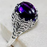 Nongkhai shop Huge 2.3ct Amethyst 925 Silver Wedding Vintage Prom Man Women Ring Size 6-10 (7)