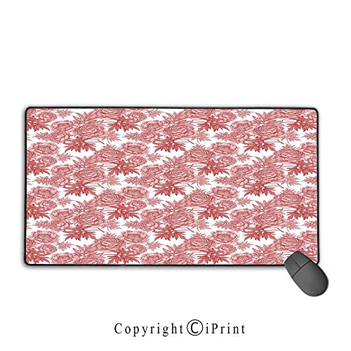 (Extended gaming mouse pad with stitched edges,Victorian Decor,Vibrant Vivid Color Garden Flower and Peonies Bouquet Illustration Old England Style,White Red,Premium textured fabric, non-slip rubber ba)