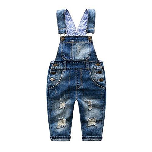 Little Girls' Ripped Distressed Denim Bib Overall Blue (Denim Jean Bib)