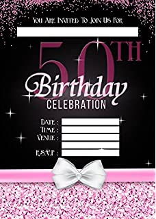 LADIES 50TH BIRTHDAY PARTY INVITES INVITATIONS X 10 PACK