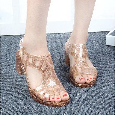 RUGAI-UE Moda de Verano Mujer sandalias casuales zapatos de tacones PU Confort,verde,US4-4.5 / UE34 / REINO UNIDO2-2.5 / CN33 Gold