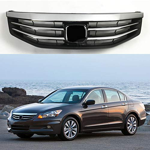 Honda Grill - MotorFansClub Front Grill for Honda Accord 2011 2012 Bumper Hood Mesh Chrome Balck Grille