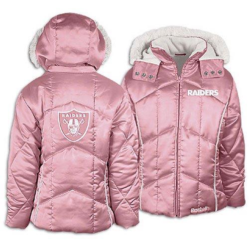 Raiders Fleece Oakland Polar (Oakland Raiders Pink Satin Puffy Girls Jacket (M))