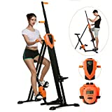 ANCHEER Vertical Climber Folding Exercise Climbing Machine, Exercise Equipment Climber for Home Gym, Stair Stepper Exercise for Home Body Trainer (Orange)