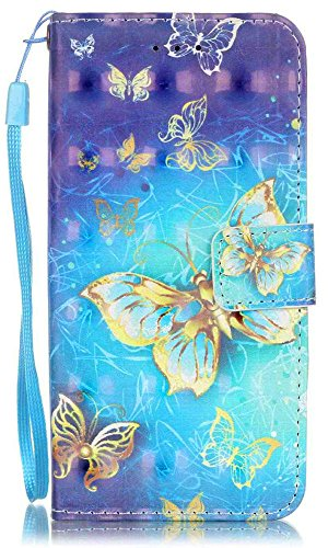 iPhone 8 Case, iPhone 7 Wallet Case, JanCalm [Card/Cash Slots] [Wrist Strap] [3D Painted] Stand Design Dual- Use Flip Pattern Premium PU Leather Fold Wallet Pouch Cover + Pen (3D Gold Butterfly)