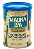 Mauna Loa Dry Roasted Macadamia Nuts with Sea Salt, 4.5-Ounce Canister (Pack of 18)