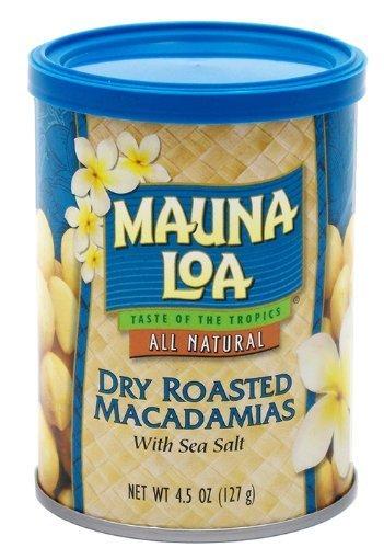 Mauna Loa Dry Roasted Macadamia Nuts with Sea Salt, 4.5-Ounce Canister (Pack of 18)