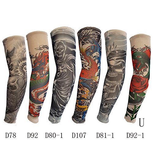 YDZN 6pcs Elastic Arms Tattoo Sleeves Temporary Tattoos Accessories Maquiagem Shirt Auti Sun Temporary Kit -