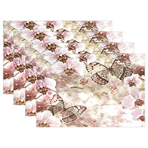 ALAZA Butterflies Orchids Flowers Pink Placemats Dining Table Heat Resistant Kitchen Table Decor Washable Table Mats Set of 6 89