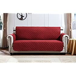 Argstar Sofa Cover Furniture Protector for Pet, Cats, Dogs Couch Slipcover Red/Tan (3 Seater)