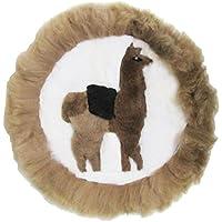 Circular Peru Llama Alpaca Fur Handmade Rug Pillow Case (Brown)