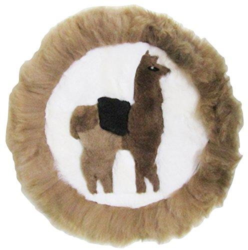 Price comparison product image Circular Peru Llama Alpaca Fur Handmade Rug Pillow Case (Brown)