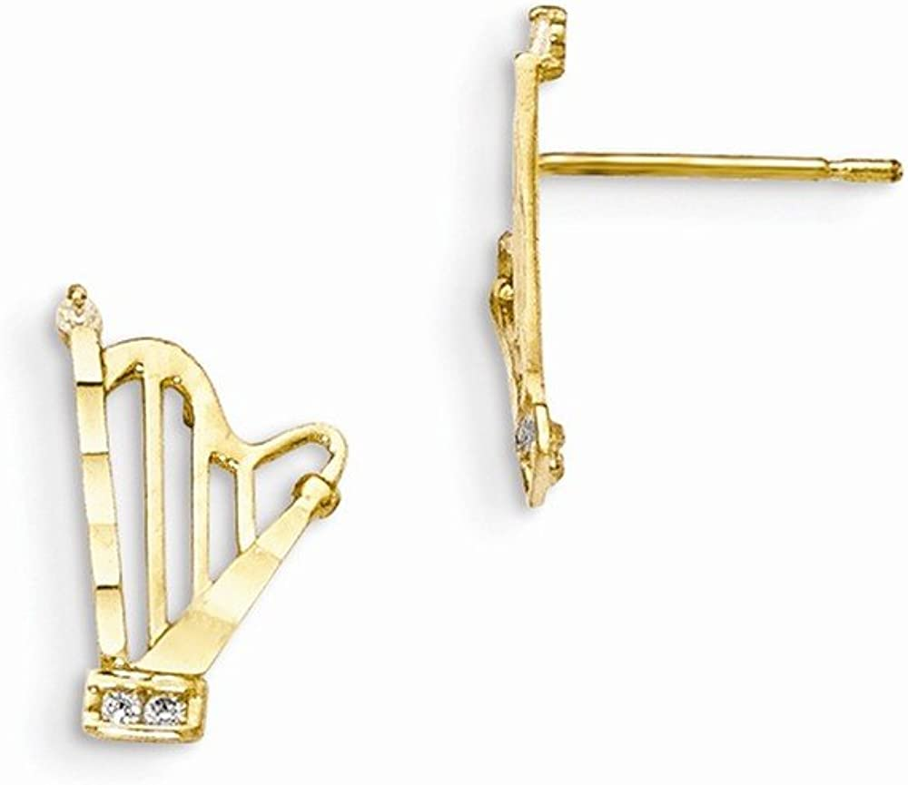 Real 14kt Yellow Gold Madi K CZ D//C Childrens Harp Post Earrings