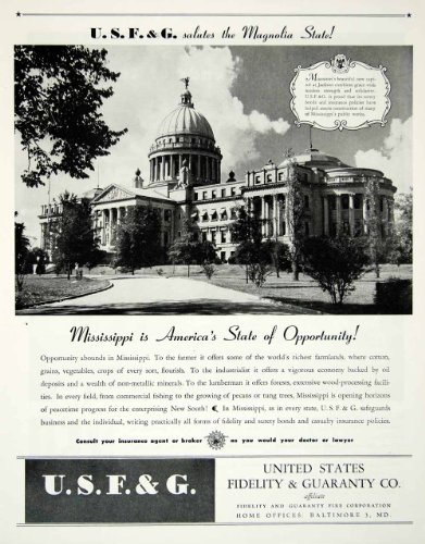 1945 Ad United States Fidelity Guaranty Mississippi Capitol Building Landmark   Original Print Ad
