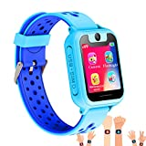 Synmila Kids Smart Watch GPS Tracker, Touch Screen Wrist Watch Phone with SIM for Boys Girls with Camera Fitness Trackers Anti-lost Wearable Phone Watch Monitors Bracelet for iOS Android (blue)
