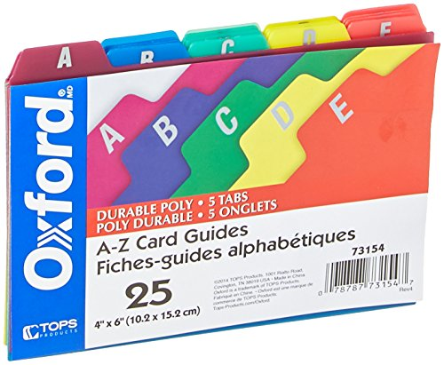 Oxford Poly Index Card Guides, Alphabetical, A-Z, Assorted Colors, 4 x 6 Size, 25 Guides per Set (73154)