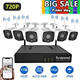Firstrend 8CH Security Camera System Wireless, HD Security Camera System With 6pcs 720P HD Security Cameras and 1TB Hard Drive Pre-installed, P2P Wifi Home Security System