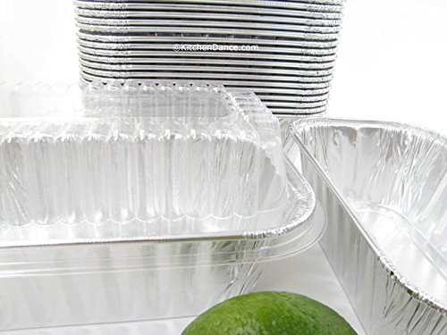 Disposable Aluminum 1 Lb. Loaf Pans with Clear Snap on Lid #5000p (600)