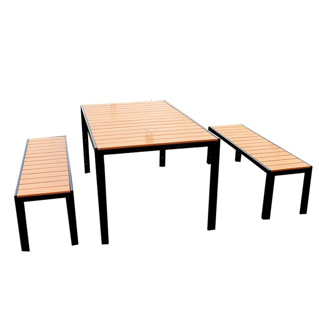 XLOO 3 Stück Terrassenmöbel, Outdoor Garden Bistro Set mit, Gartenbank Outdoor Bench Terrassenbank, Kunststoff Holz, Aluminiumrahmen, Patio Park Gartenbank Veranda Path Chair Outdoor Deck