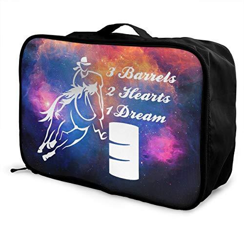 Barrel Racing Horse 3 BARRELS 2 HEARTS 1 DREAM Fashion Travel Duffel Bag Waterproof Lightweight Large Capacity Portable Luggage Bag (Black)